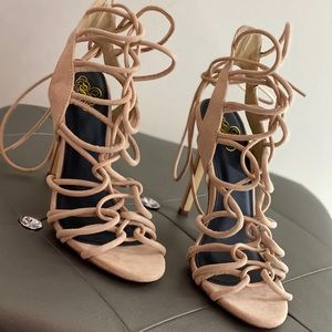 Nude strappy lace up heels